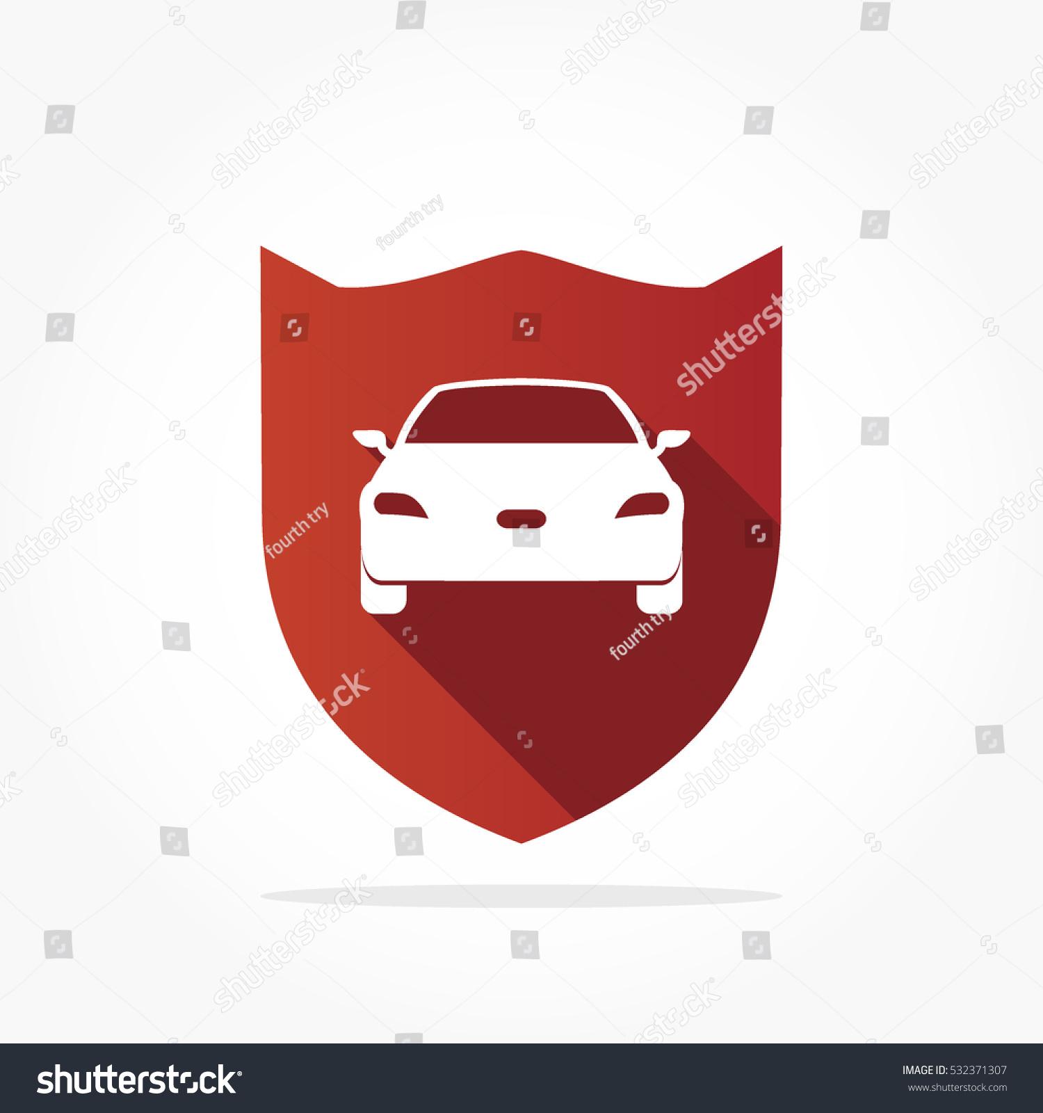 Simple Flat Red Shield White Car Stock Vektorgrafik Lizenzfrei