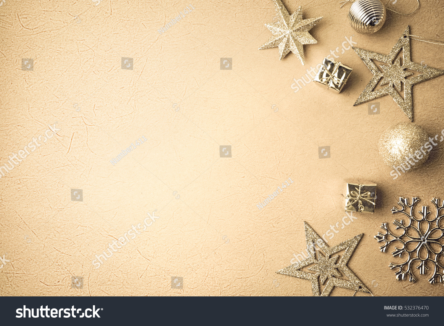 Christmas Decorations On Mulberry Paper Texture Stock Photo (Royalty ...