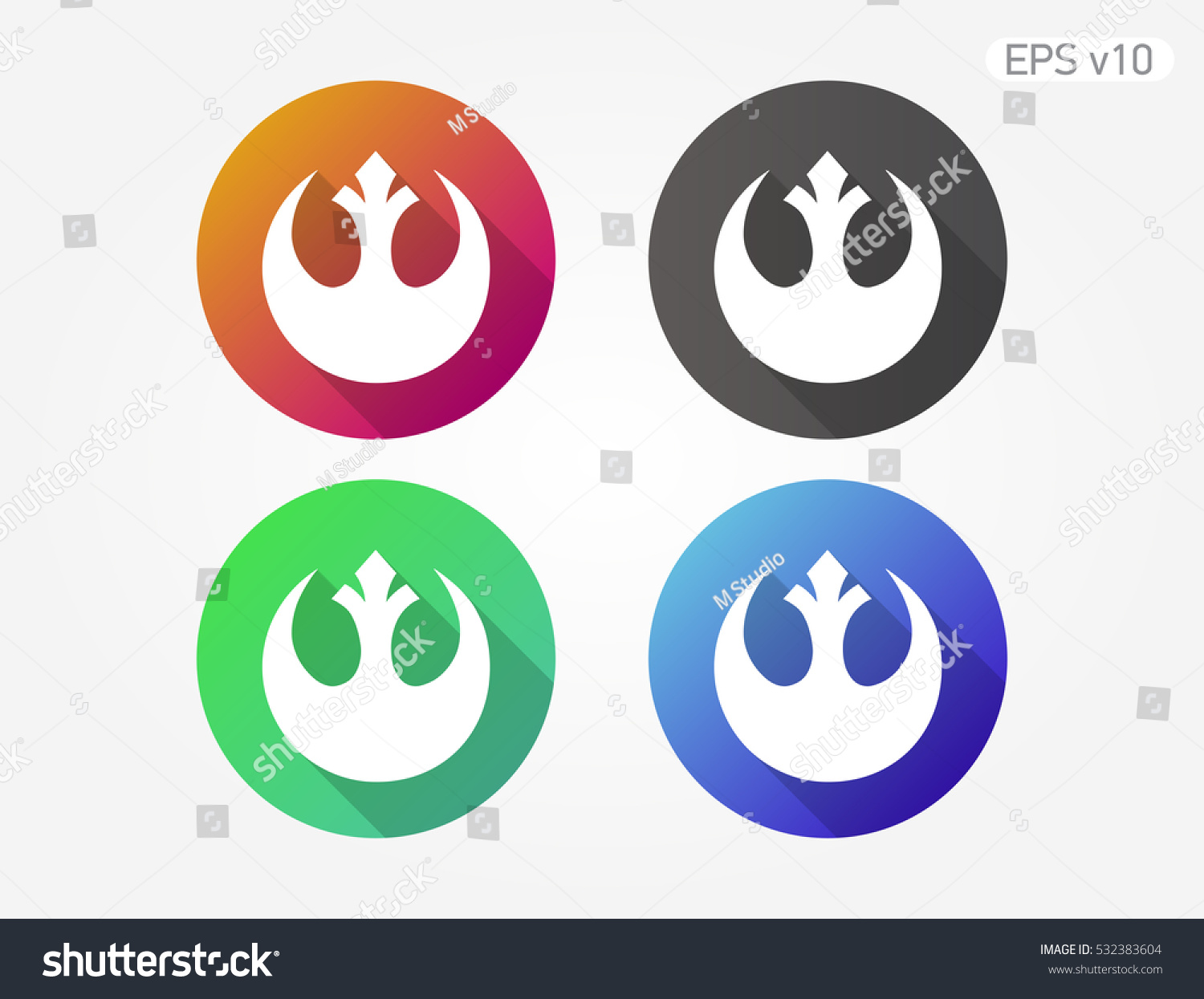 Colored Icon Star Wars Symbol Shadow Stock Vector Royalty Free