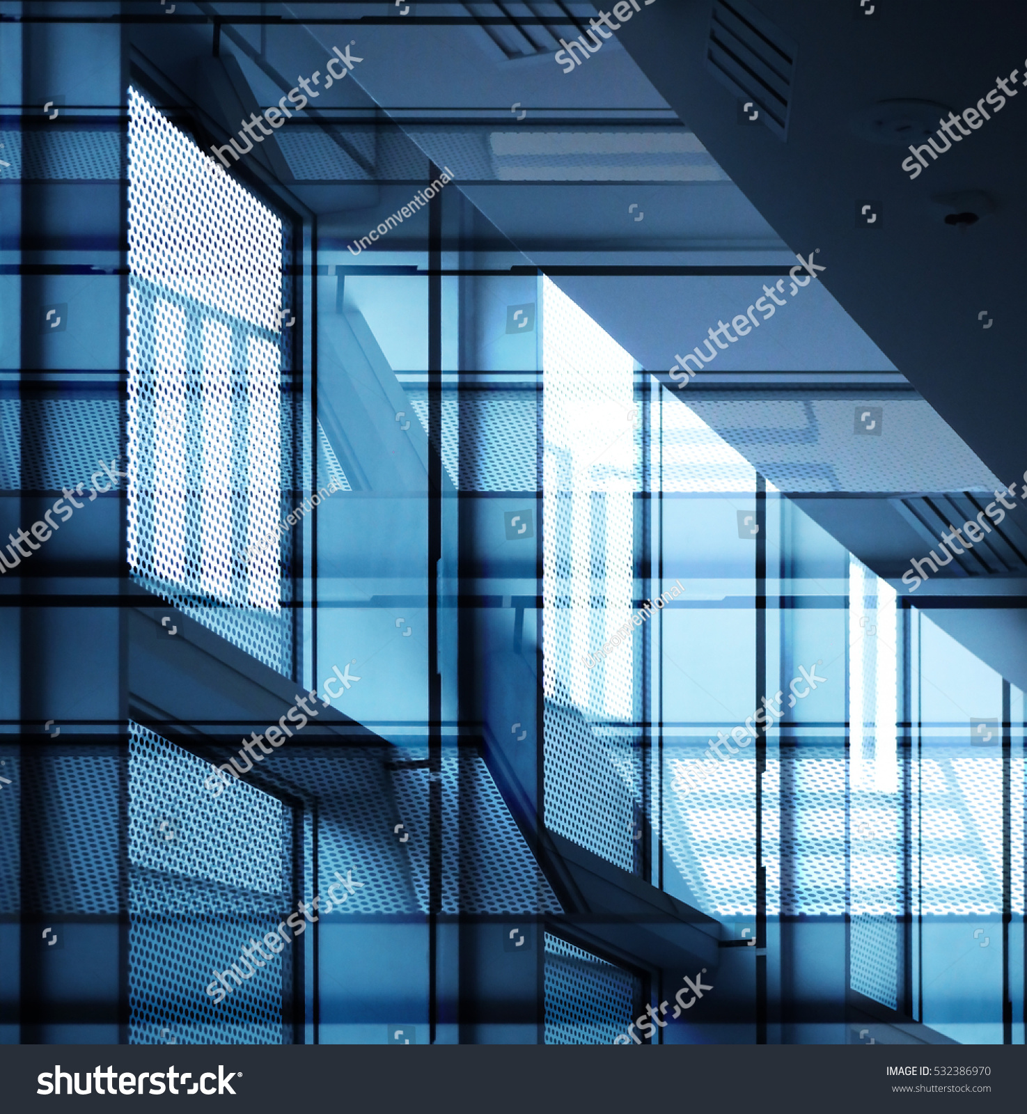 Glass Building Interior : Double exposure industrial office building interior stock