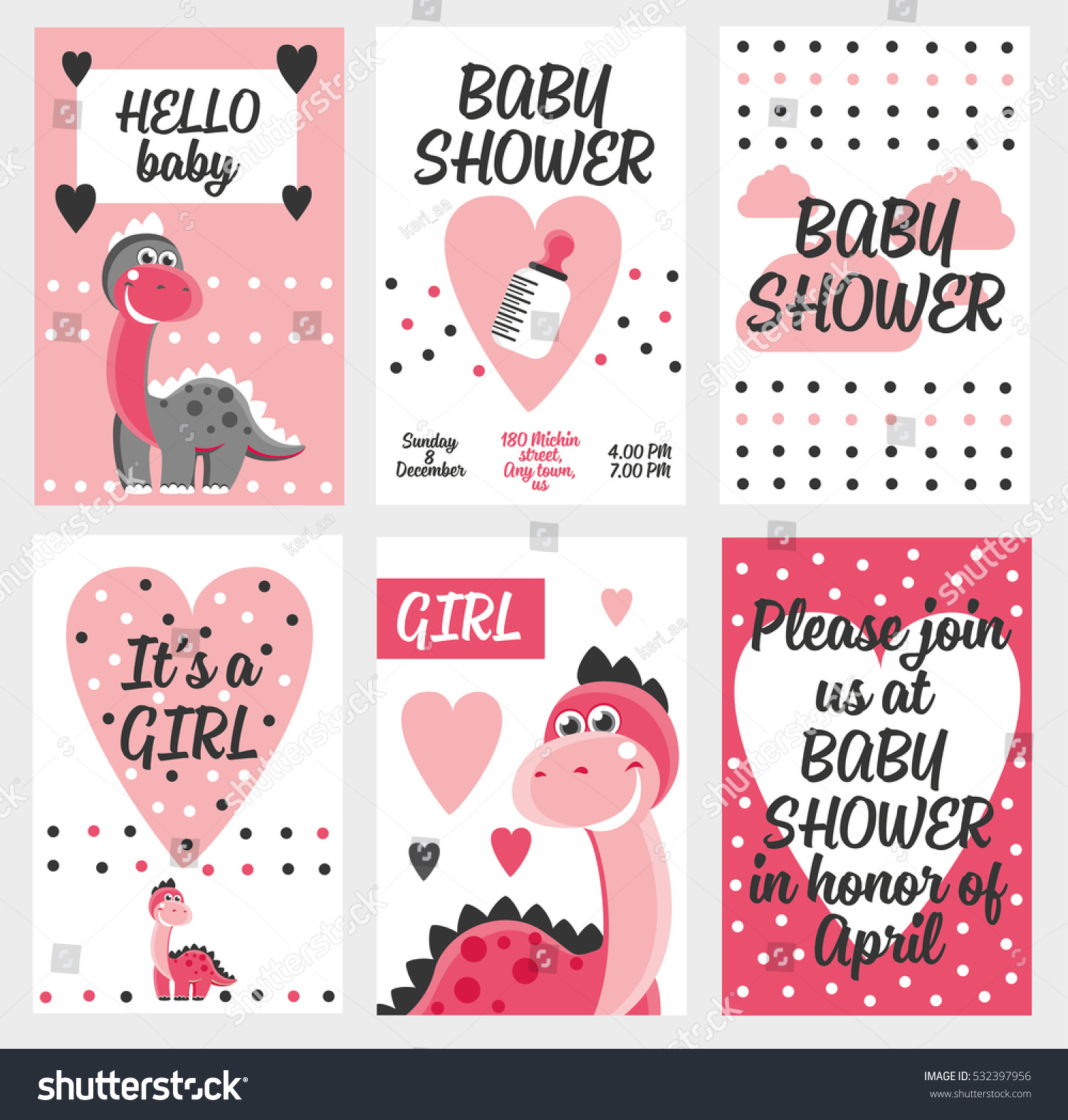Set Of 6 Cute Creative Cards Templates With Baby Shower Theme Design