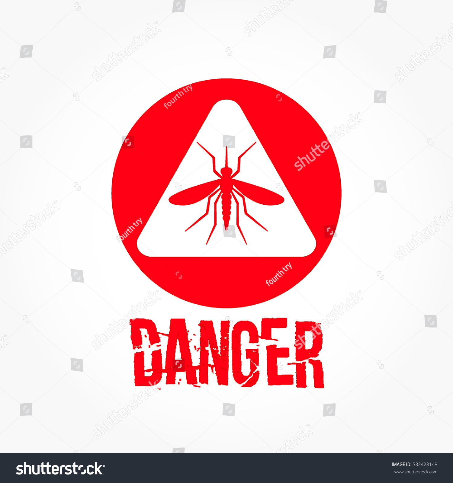 Red mosquito on white triangle inside stock vector 532428148 red mosquito on white triangle inside red circle with danger text bellow buycottarizona Image collections