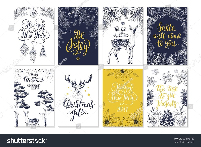 merry christmas invitation set vector printable stock vector