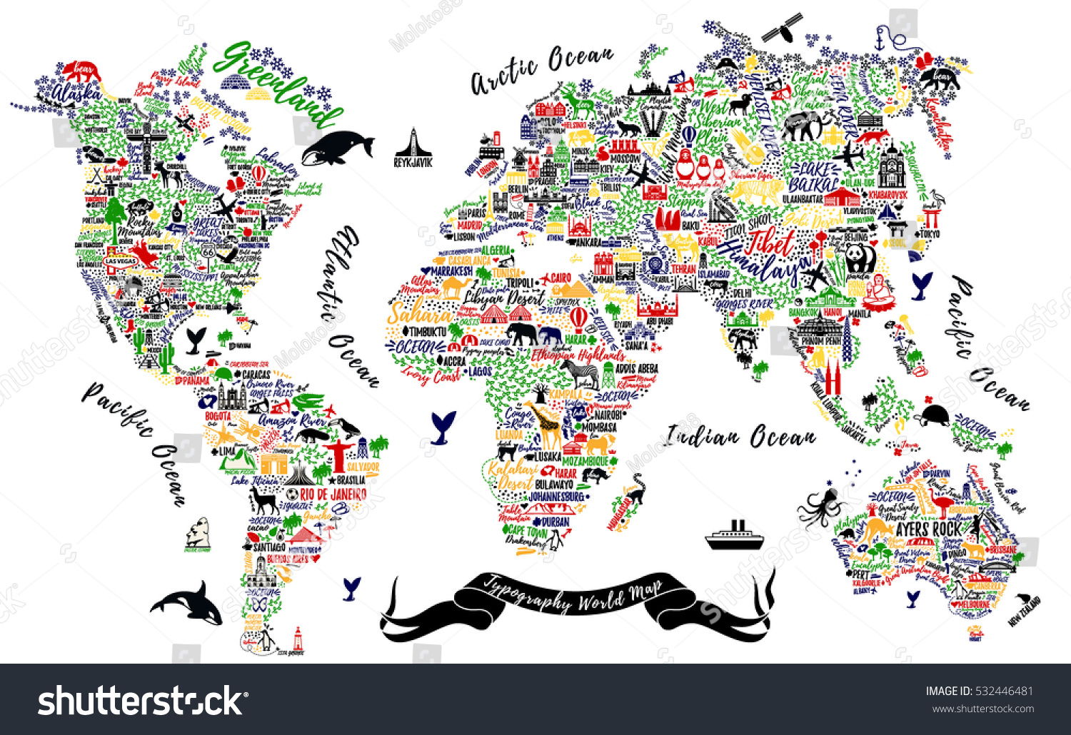 Typography world map travel poster cities stock photo photo vector typography world map travel poster with cities and sightseeing attractions inspirational vector illustration gumiabroncs Images