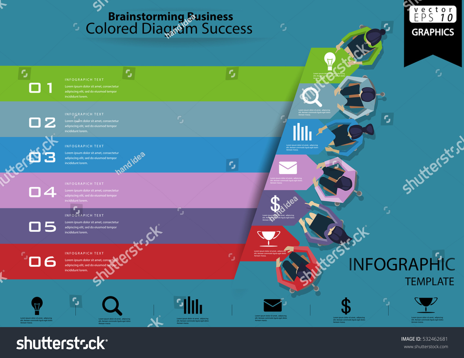 Brainstorming Business Colored Diagram Success Modern Design Idea And Concept Vector