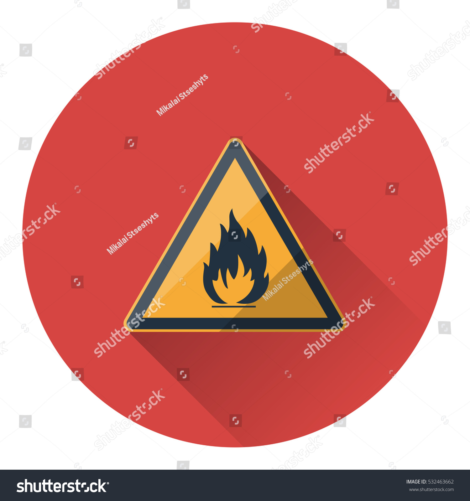 Fire warning sign yellow triangle flammable stock vector 532463662 fire warning sign in yellow triangle flammable icon flat style with long shadow buycottarizona