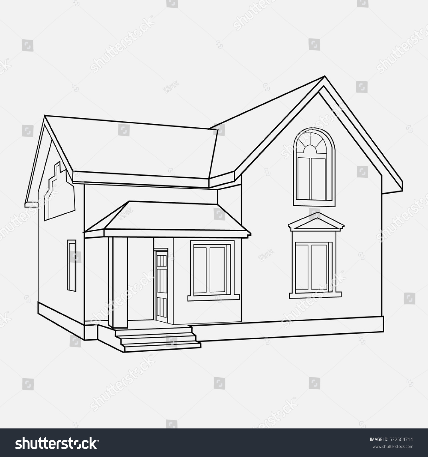 House Building Sketch Prospect Building Drawings Stock Vector