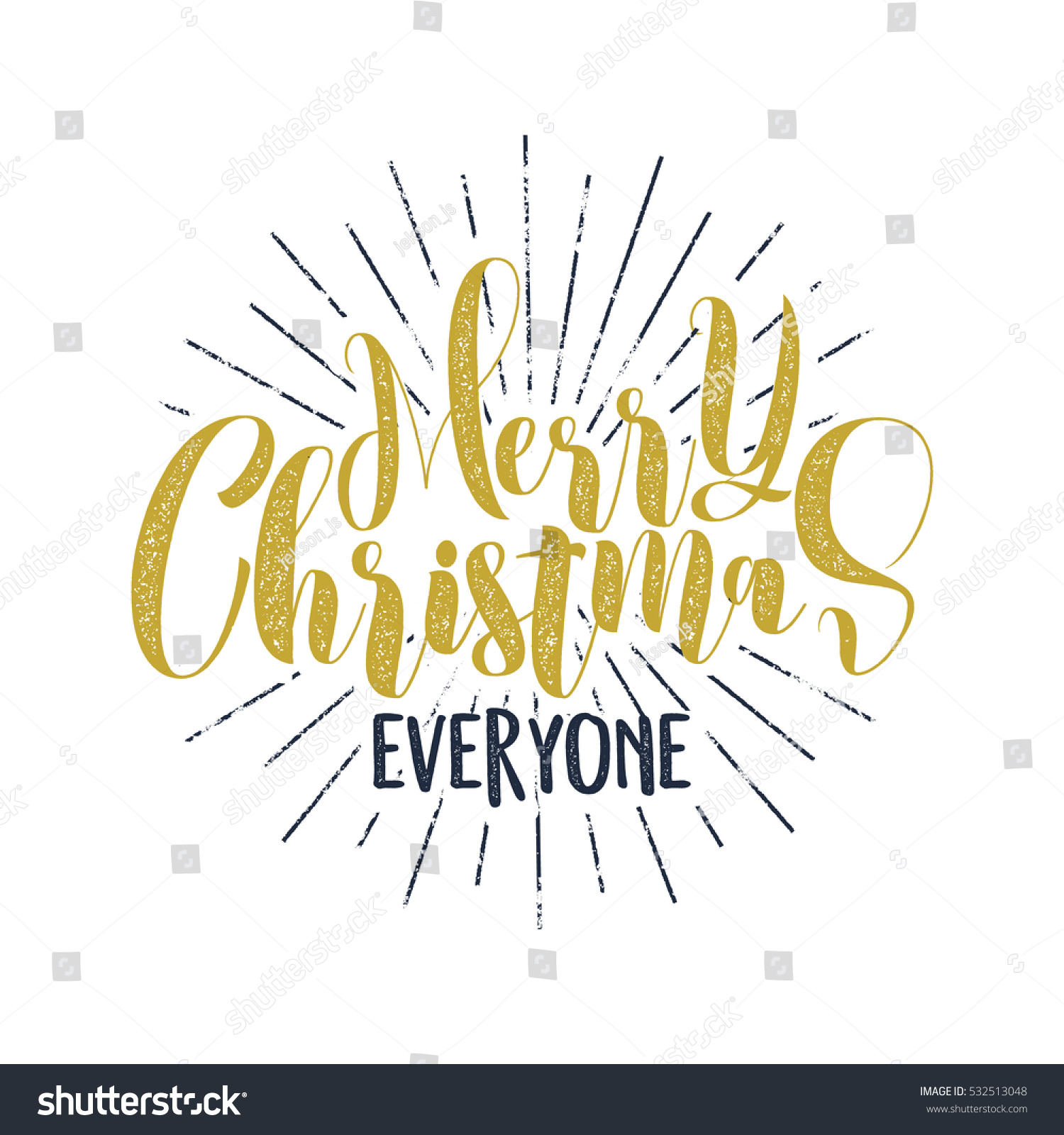 Merry Christmas Everyone Lettering Holiday Wish Stock