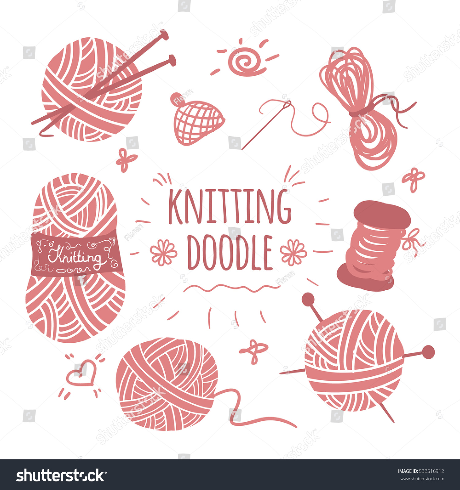 Knitting Font Free Download : Knitting doodle icons set logos stock vector
