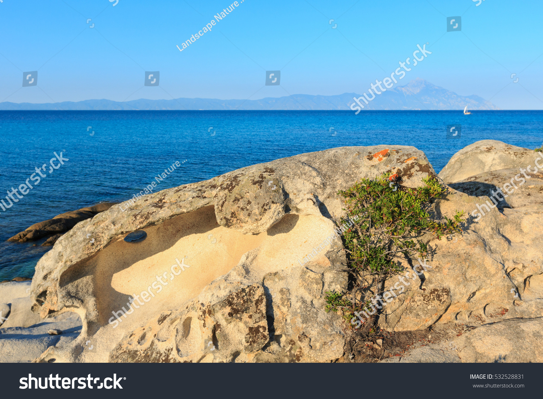 aegean sea coast landscape mount athos stock photo 532528831 shutterstock. Black Bedroom Furniture Sets. Home Design Ideas