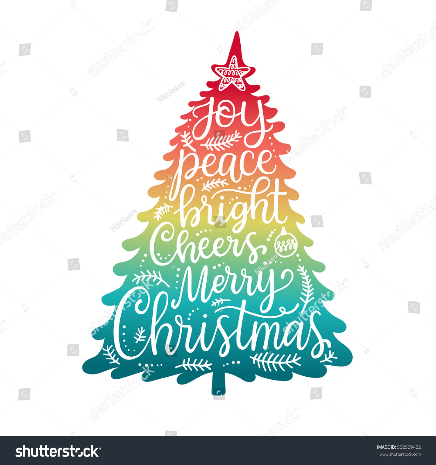 Merry Christmas Phrases Hand Lettering Greeting Stock Vector 2018