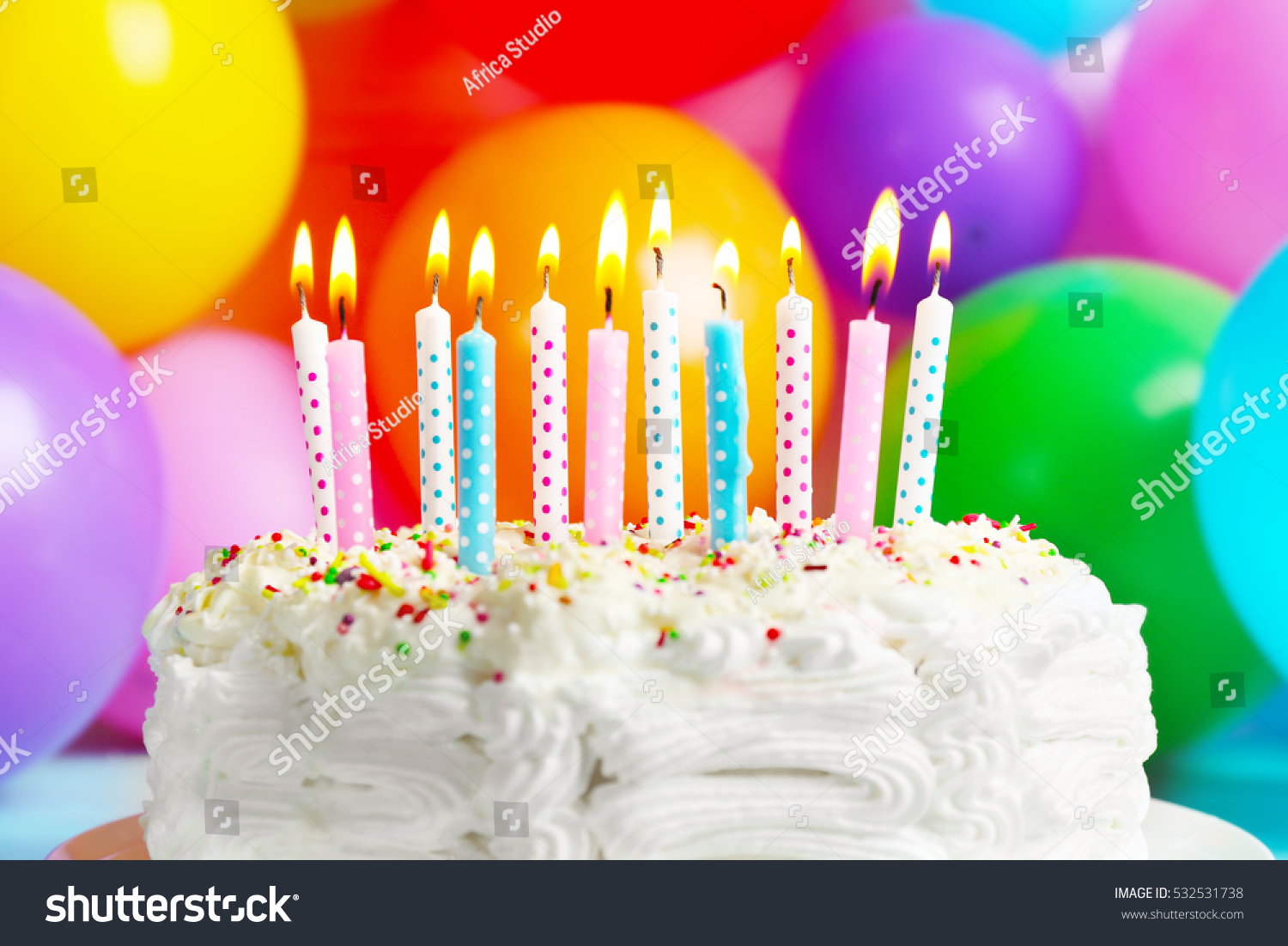 Pleasing Birthday Cake Candles On Balloons Background Stock Photo Edit Now Birthday Cards Printable Benkemecafe Filternl