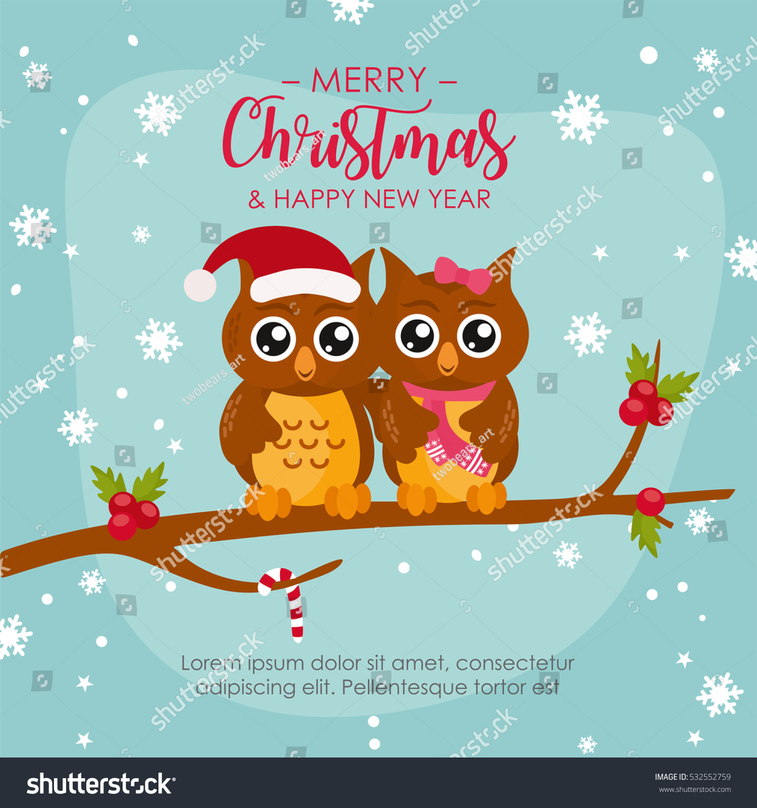 Funny Owl Couple Merry Christmas Greeting Stock Vector Royalty Free