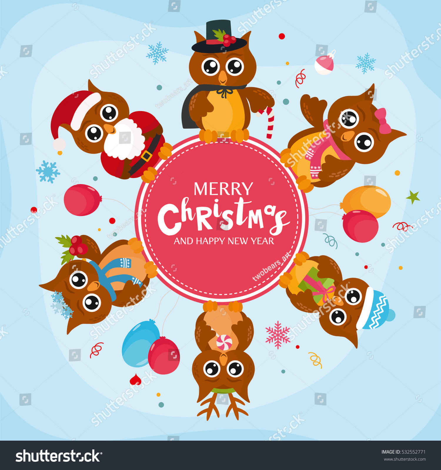 merry christmas concept with cute owls vector frame with owls character creative design for invitation and party place for your text ez canvas
