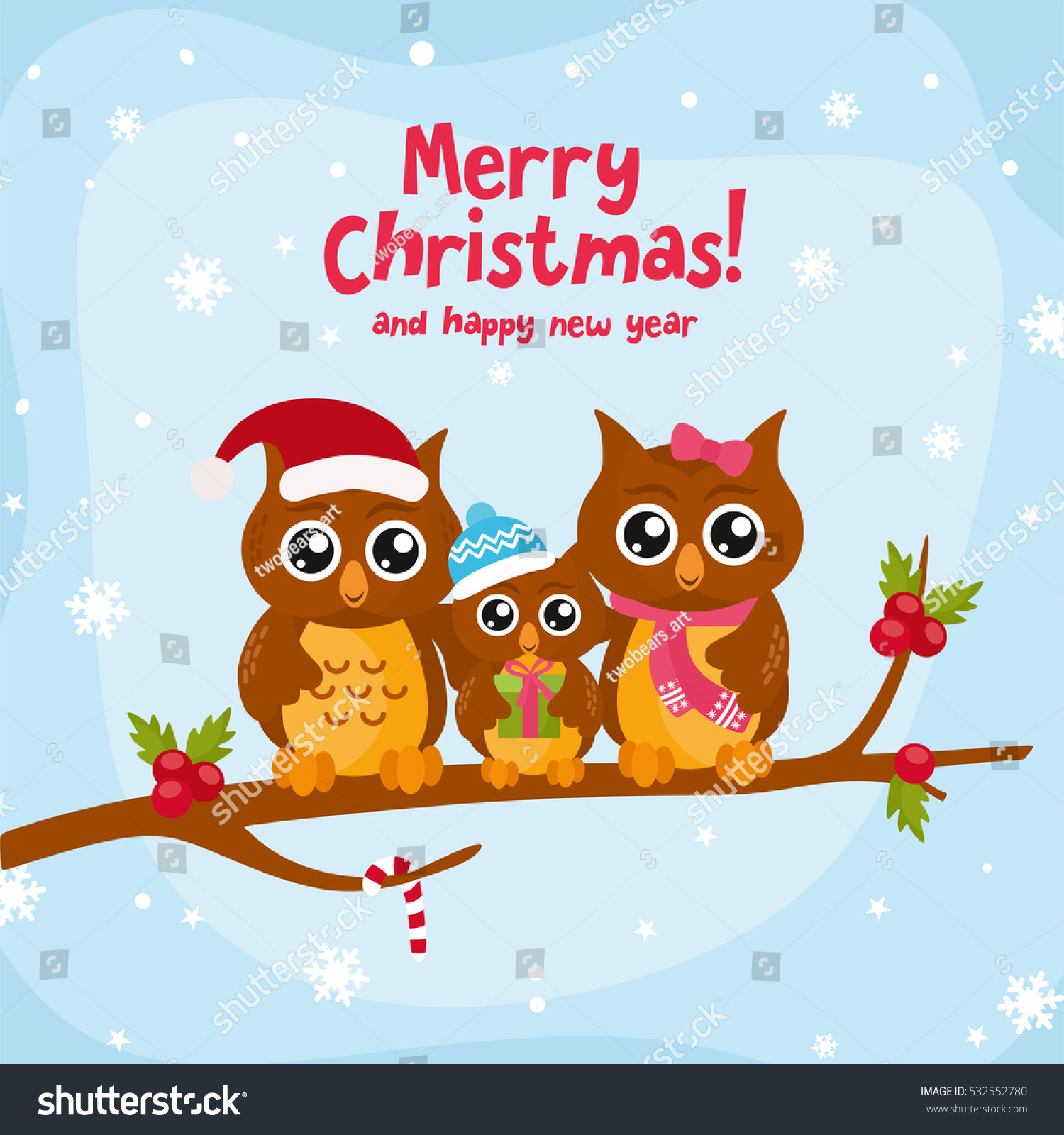 Merry Christmas Wishes Funny.Funny Owl Family Merry Christmas Greeting Stock Vector