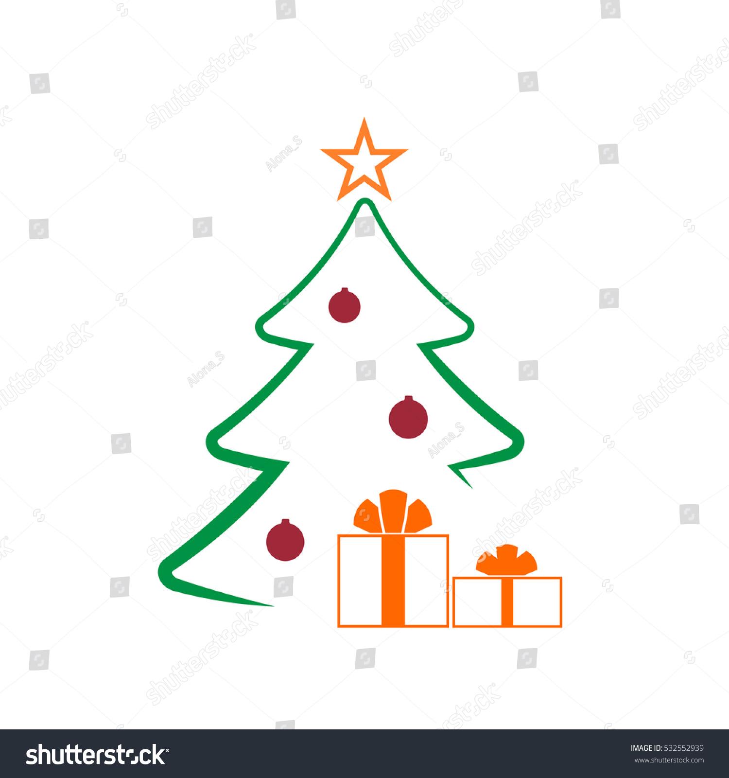 Christmas tree balls star gift cartoon stock illustration