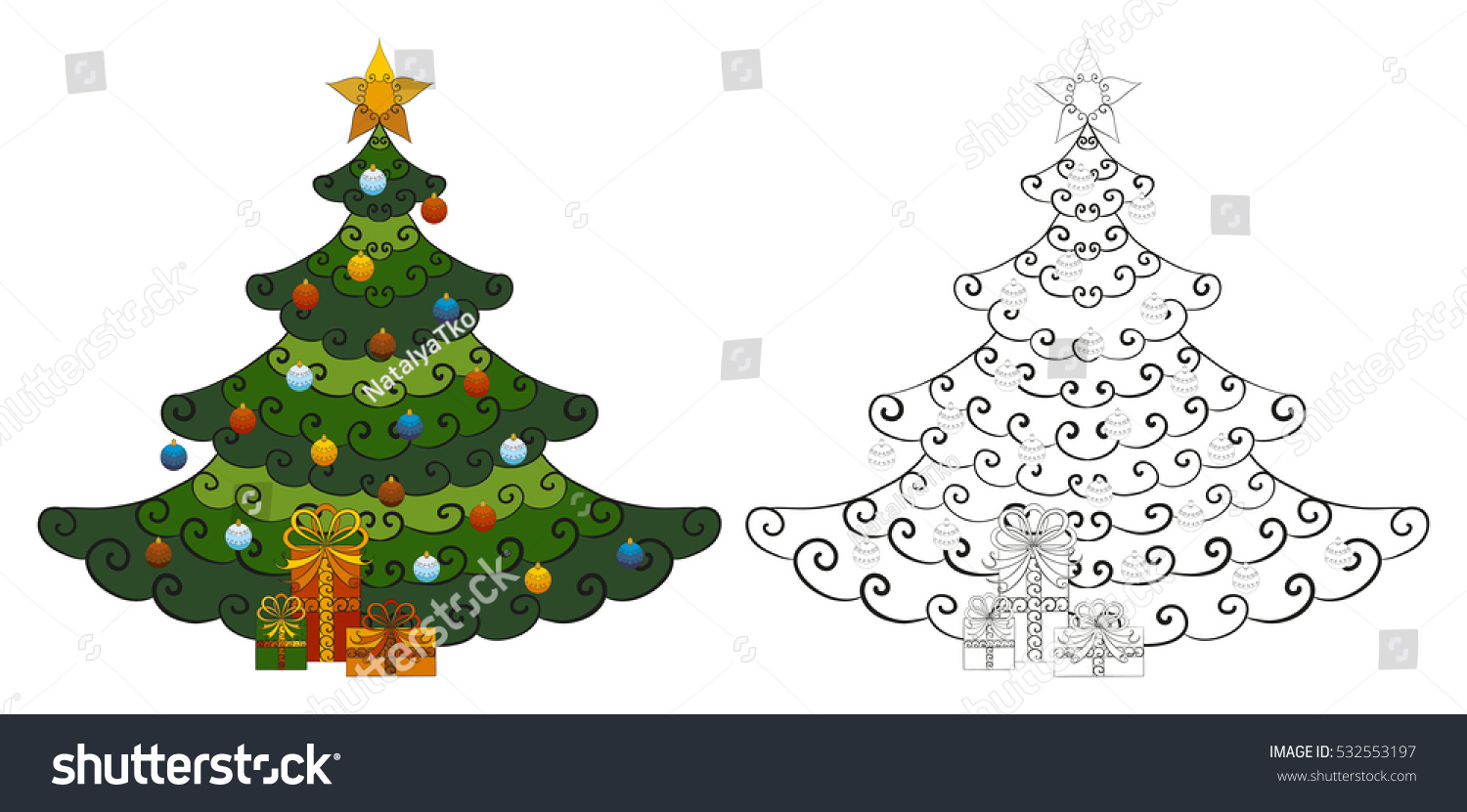 Christmas Tree Decorated Star Balls Gifts Stock Vector (Royalty Free ...
