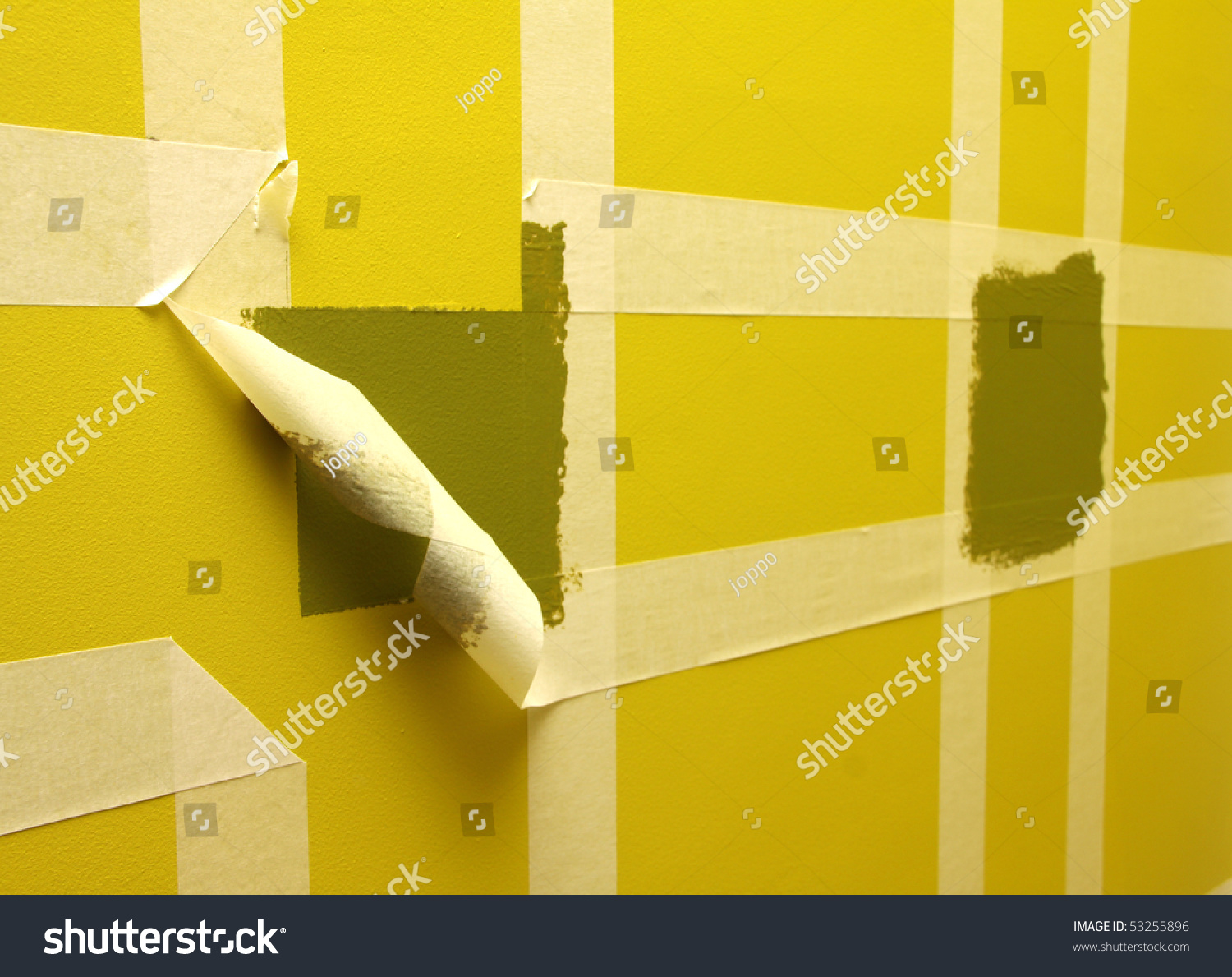 painting wall masking tape stock photo 53255896 shutterstock. Black Bedroom Furniture Sets. Home Design Ideas