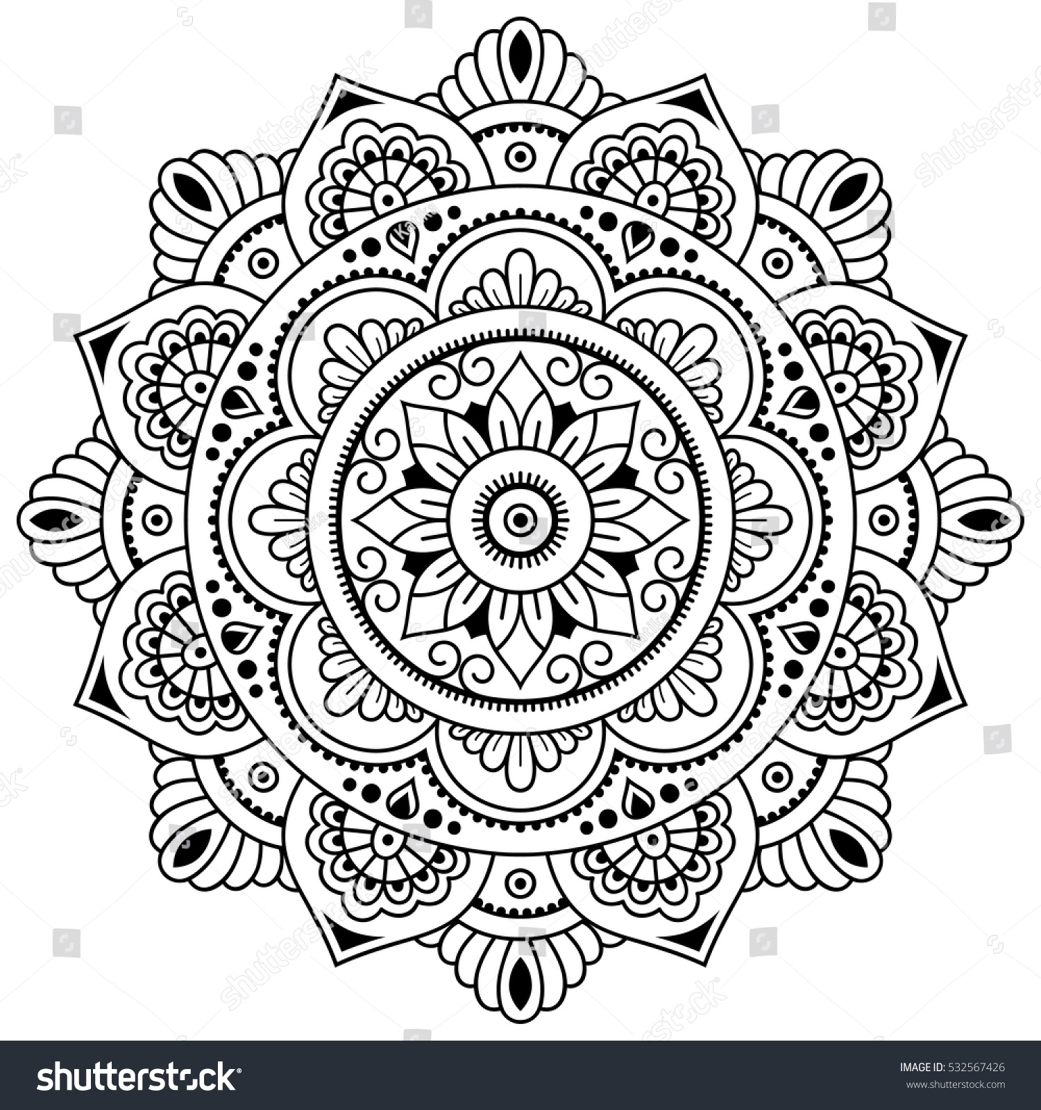 Vector henna tatoo mandala mehndi styledecorative stock for Henna coloring pages
