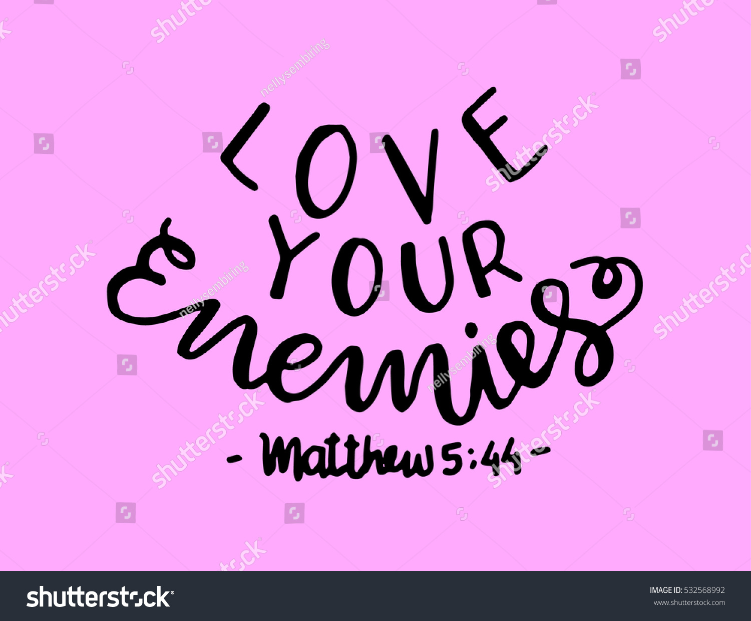 Love your enemies bible verse hand stock vector