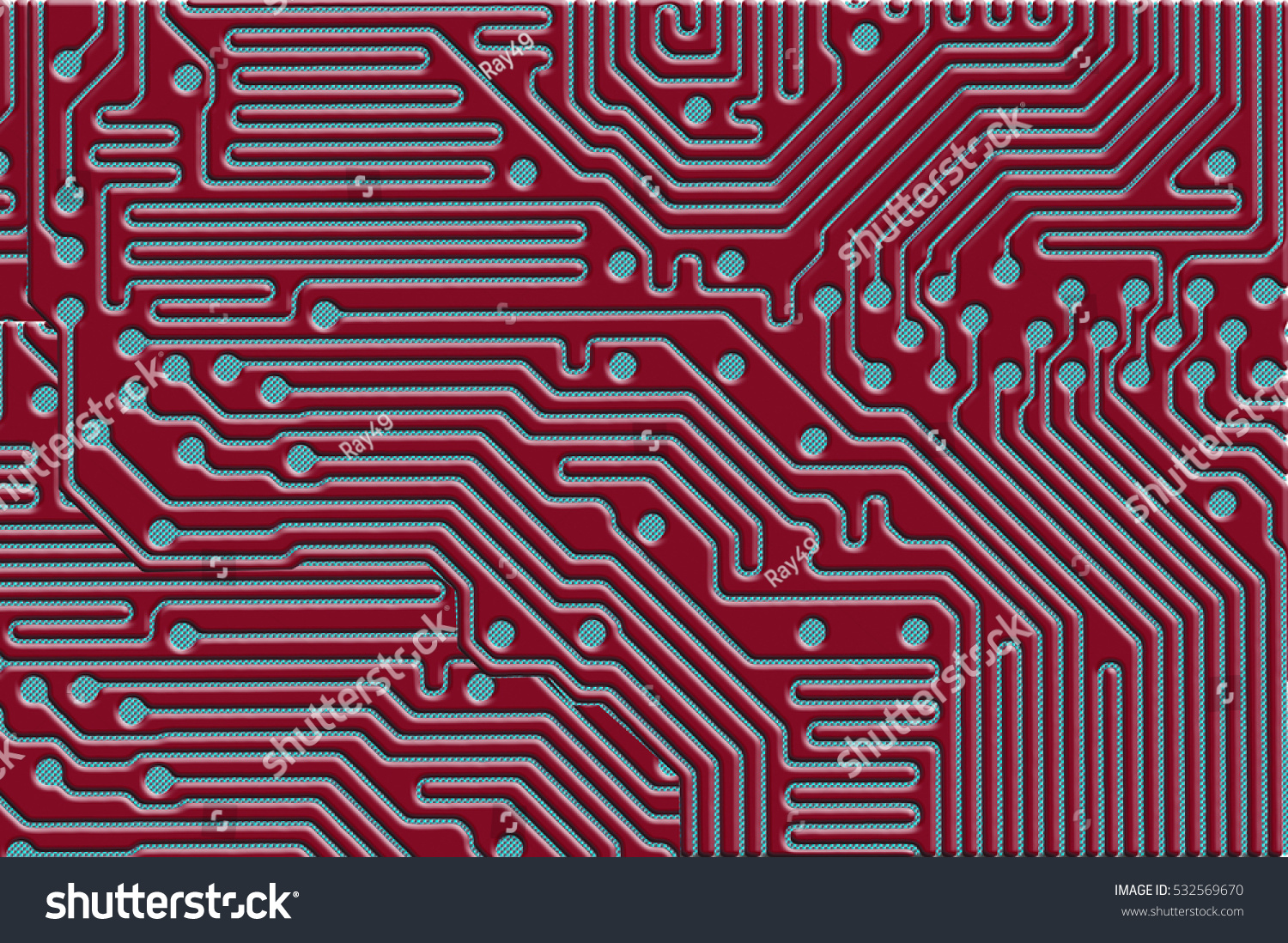 Printed Circuit Board Design Use Background Stock Illustration A For As In Red And Blue