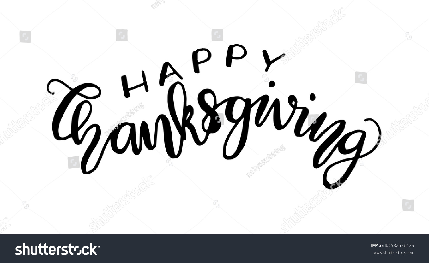 Happy Thanksgiving Hand Lettered Quote Modern Stock Vector 532576429