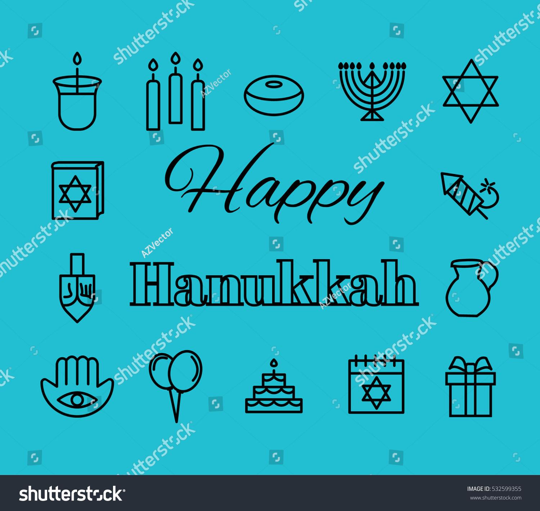 Outline Icon Collection Symbols Hanukkah Jewish Stock Vector