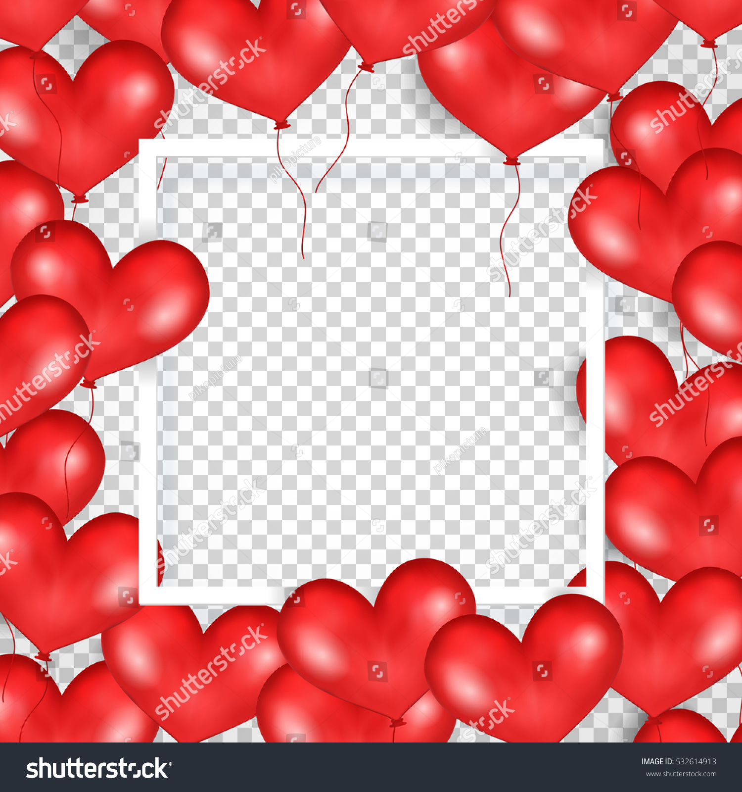 Frame Red Balloons Form Heart Transparent Stock Vector (Royalty Free ...