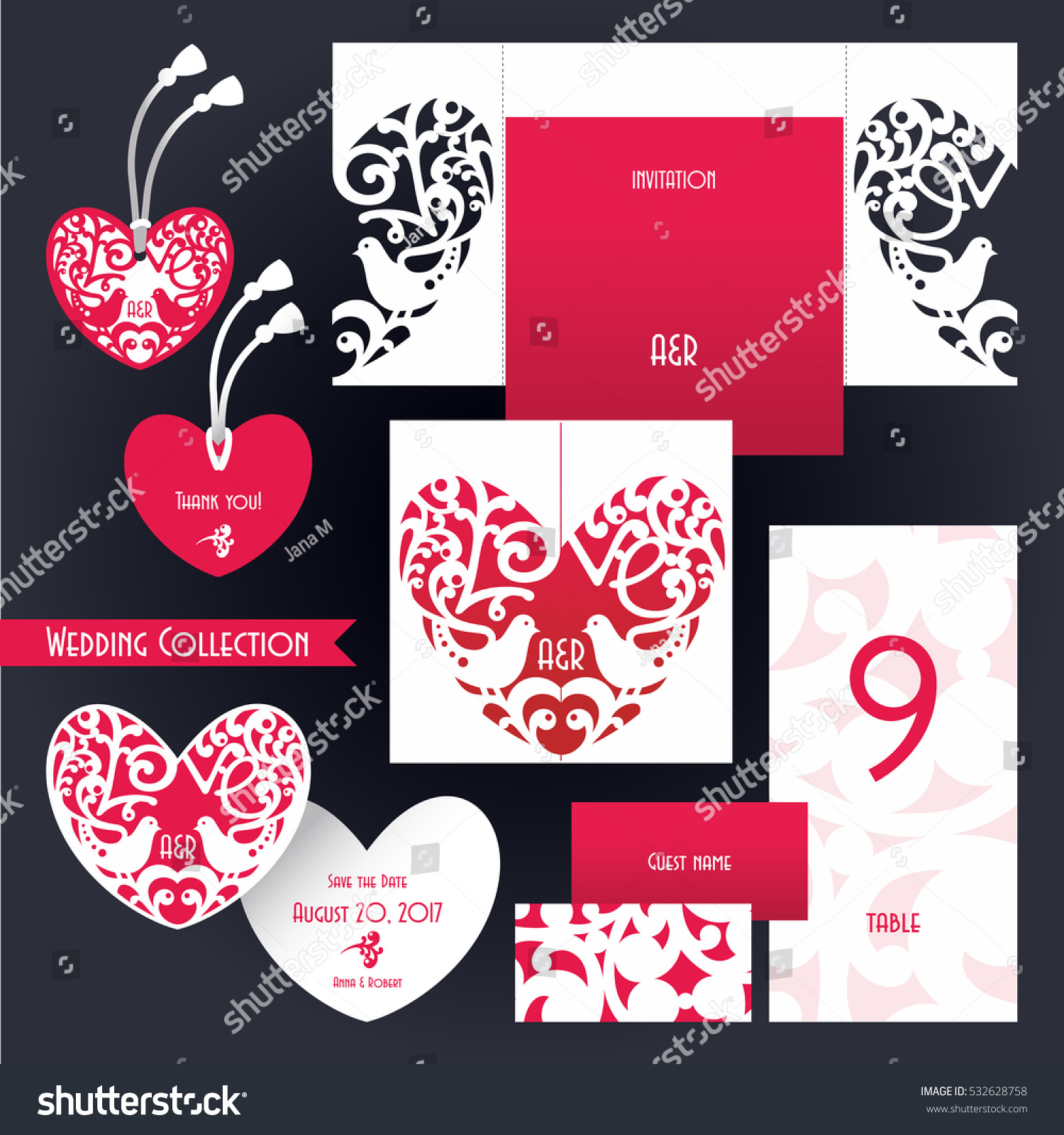 Wedding Collection Laser Cut Template Invitation Stock Vector ...