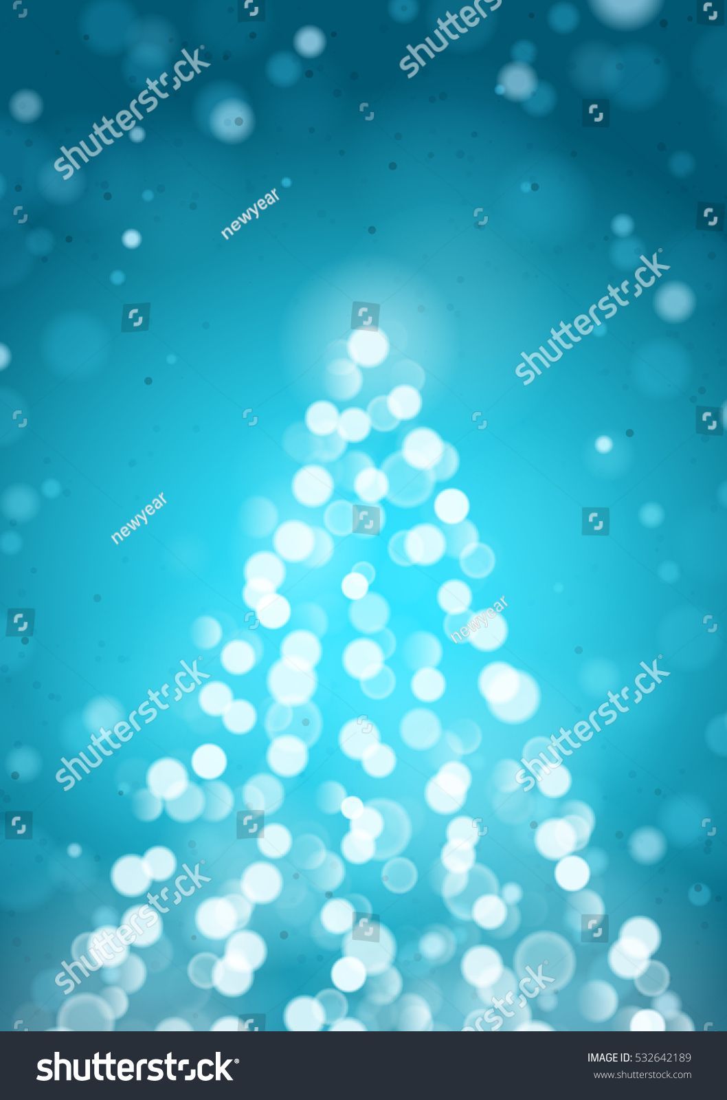 Abstract Christmas Tree By Unfocused Blurred Lights On The Vertical Turquoise Background