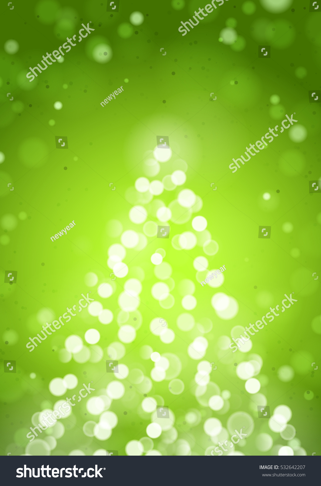 Abstract Christmas Tree By Unfocused Blurred Lights On The Vertical Green Background