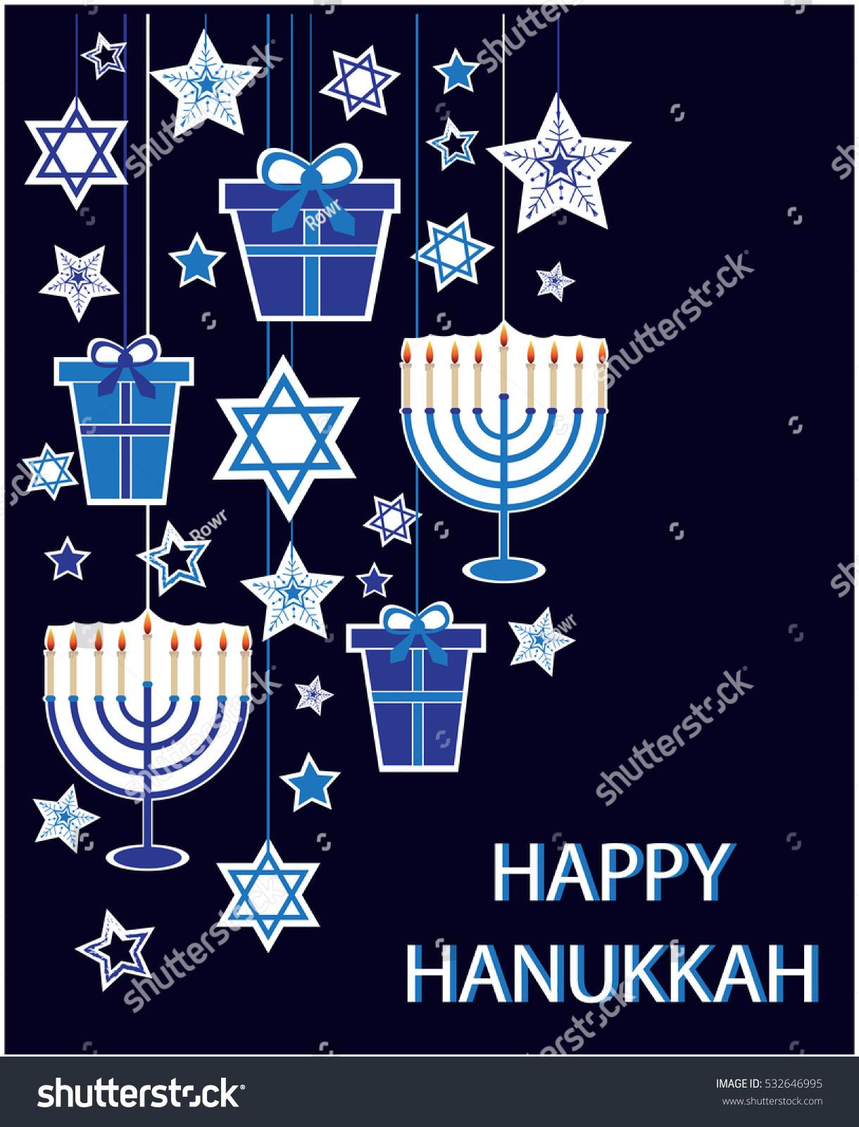 Happy Hanukkah Greeting Card Background Vector Stock Vector 2018