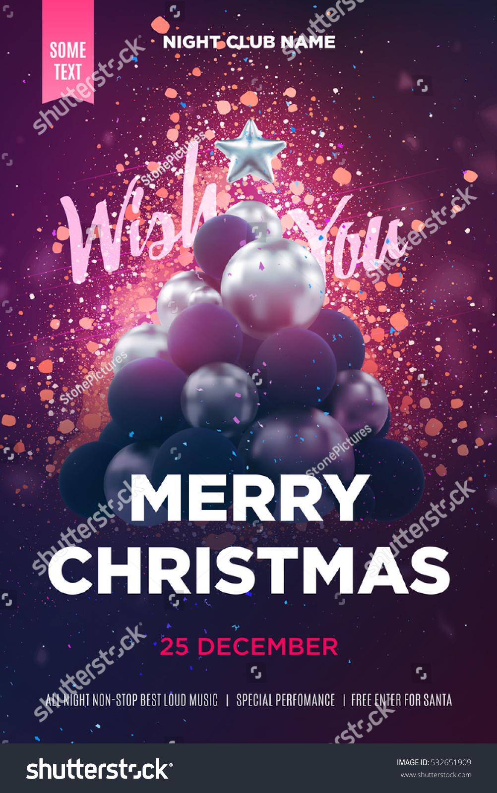 Christmas Poster Flyer Template Silver Christmas Stock Image