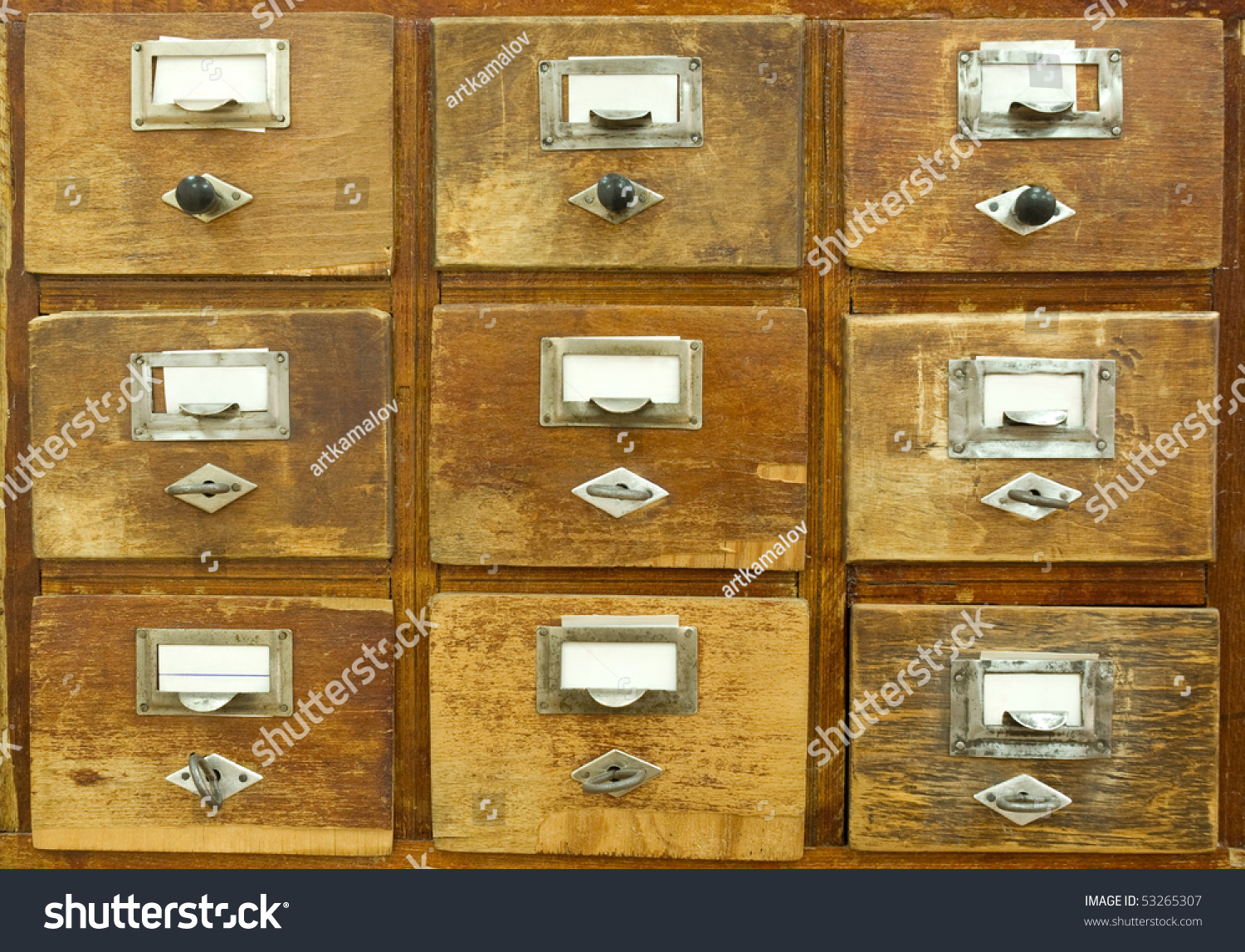 Vintage wooden drawer with blank labels & Vintage Wooden Drawer Blank Labels Stock Photo (Royalty Free ...