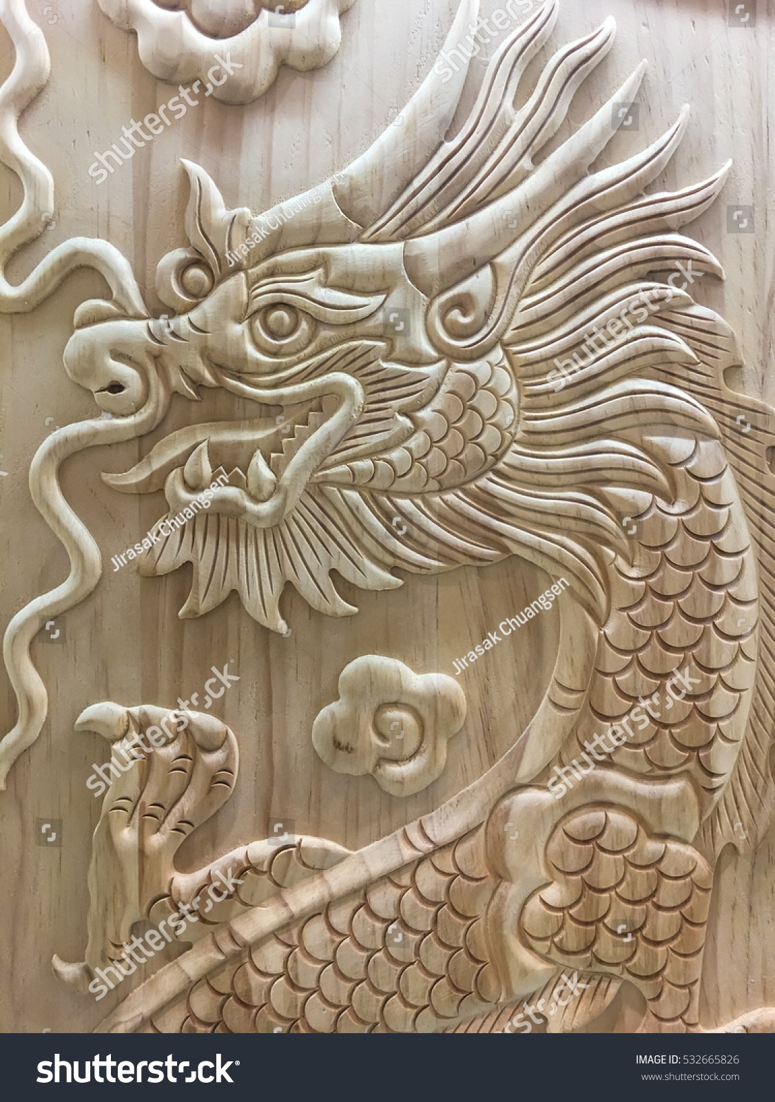 Beautiful Dragon wooden carving at the door & Beautiful Dragon Wooden Carving Door Stock Photo (Royalty Free ...