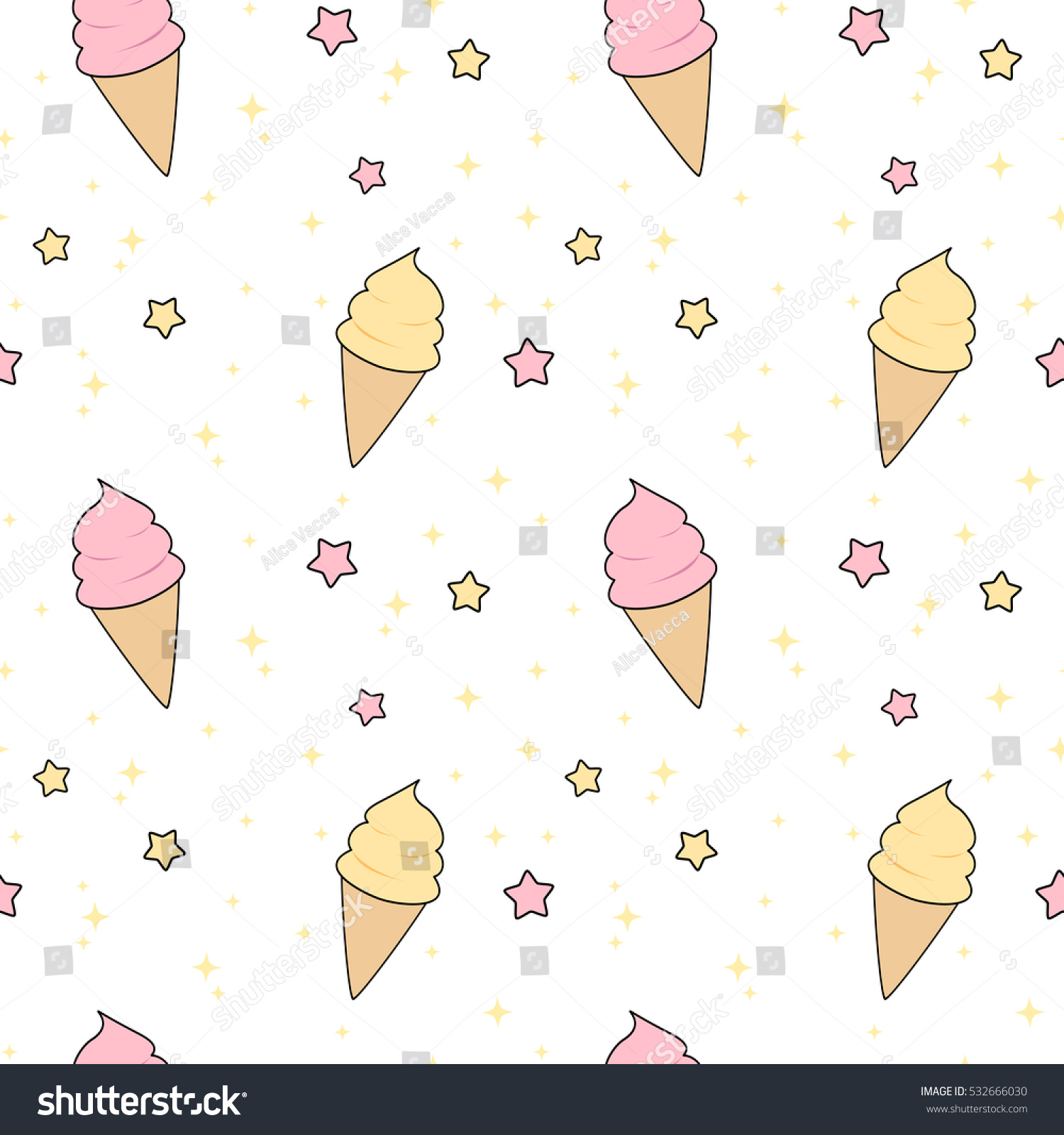 Cute Colorful Ice Cream Seamless Pattern Background: Cute Pink Yellow Cartoon Ice Cream Stock Vector 532666030