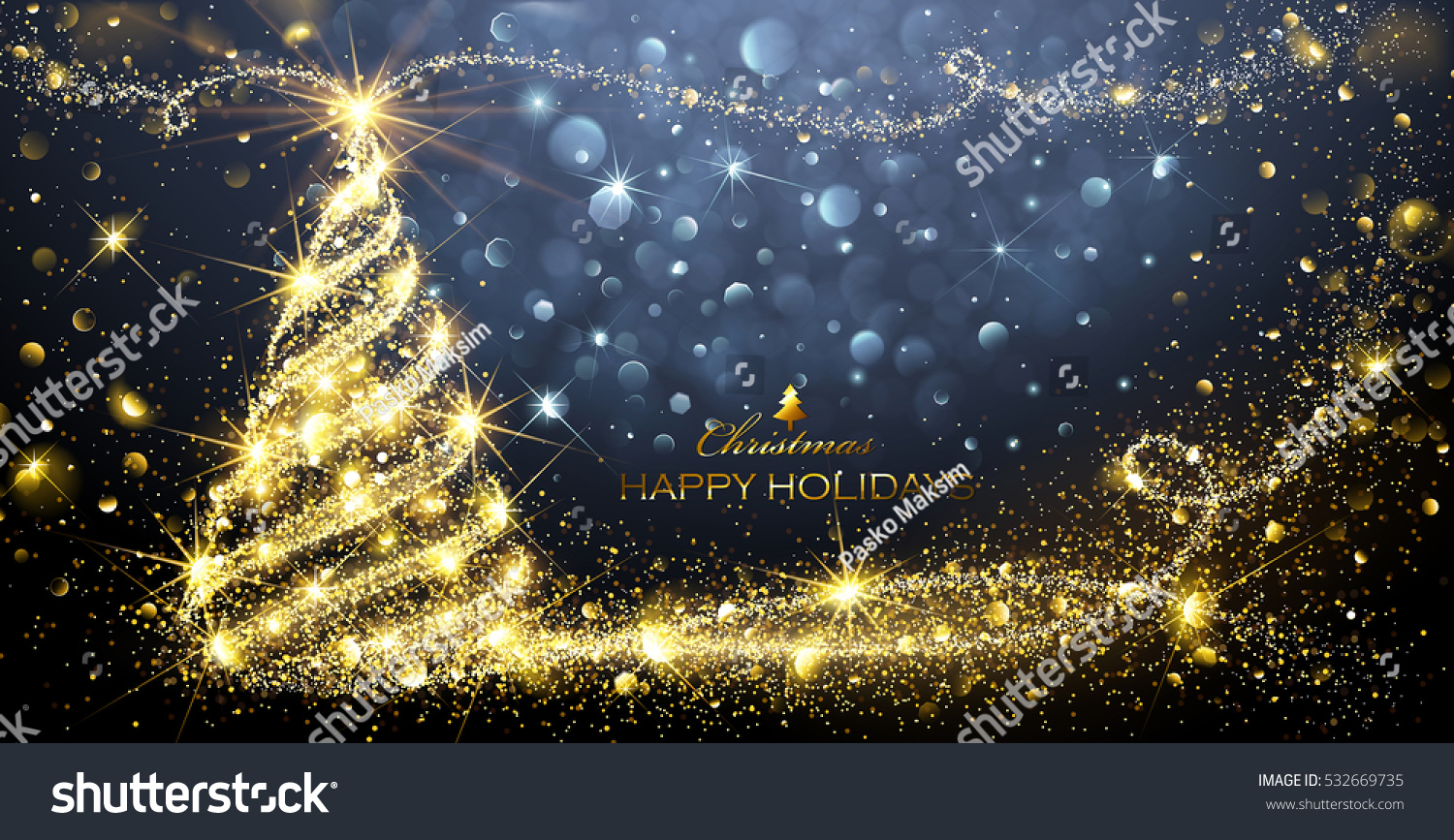 christmas card with magic tree and flickering lights vector illustration
