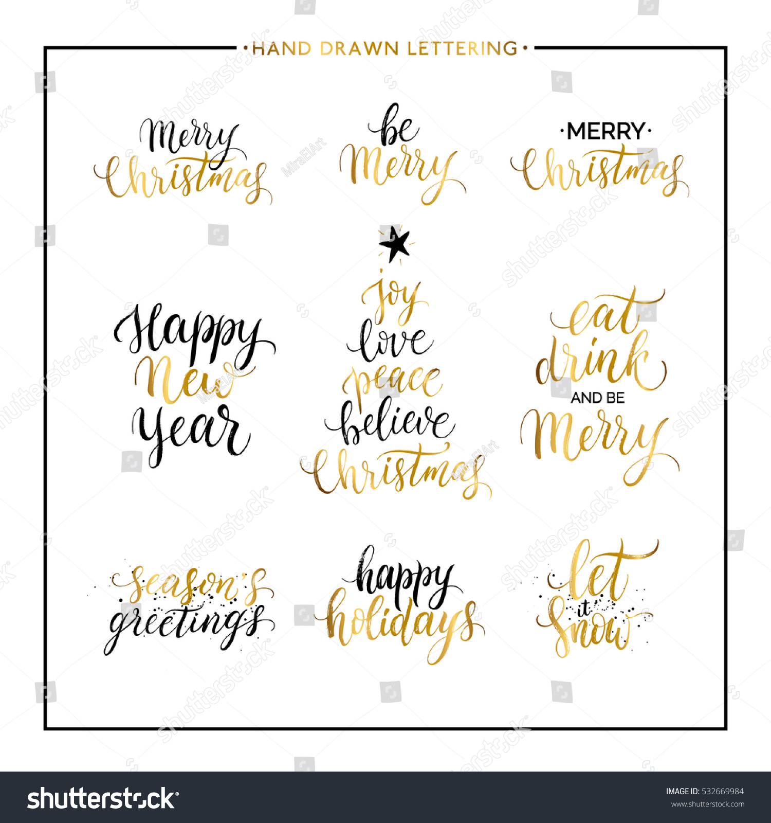 Quotes Xmas Christmas New Year Phrases Quotes Merry Stock Vector 532669984