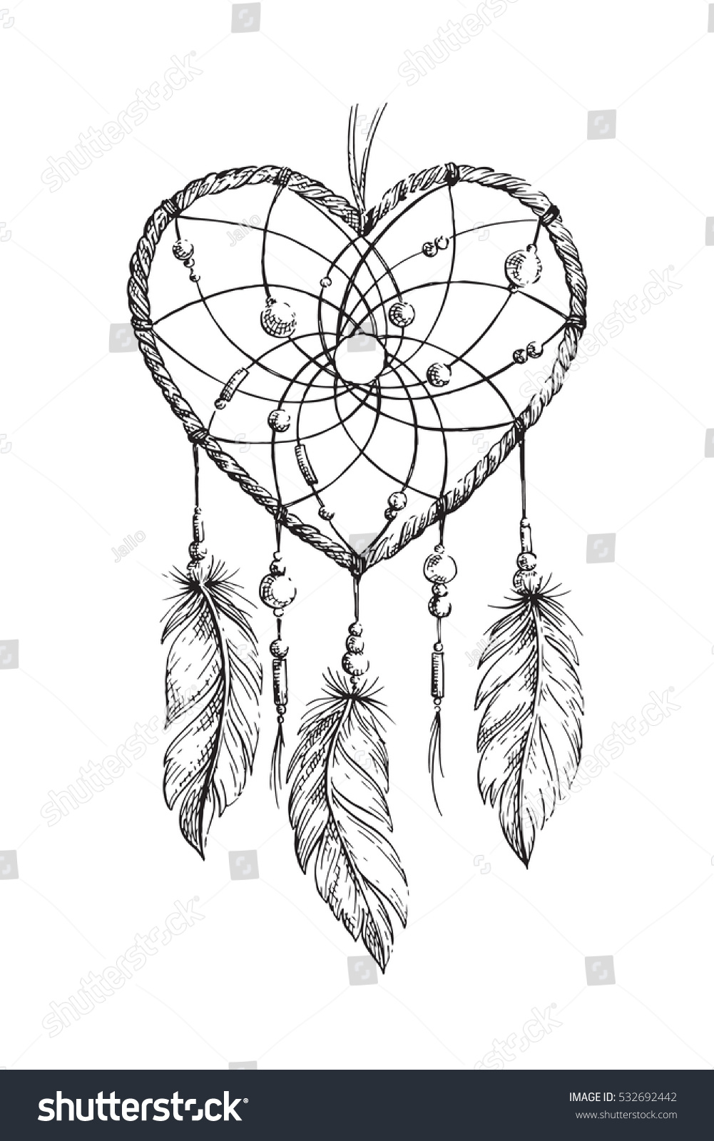 hand drawn ethnic dreamcatcher heart coloring stock vector