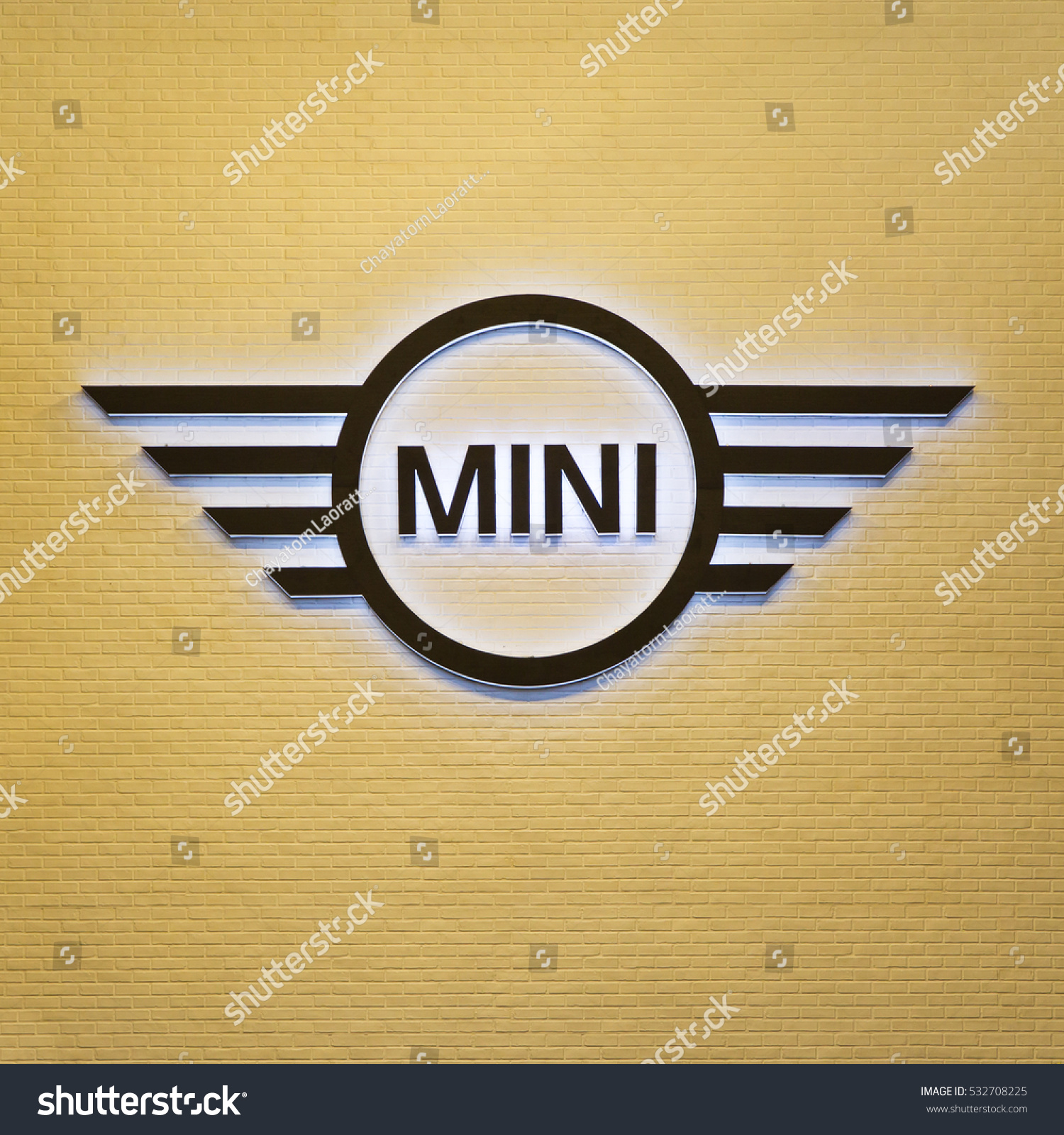 Bangkokthailanddec 3 photograph mini coopers logo stock photo bangkokthailand dec 3 photograph of mini coopers logo decorated on yellow wall biocorpaavc Images