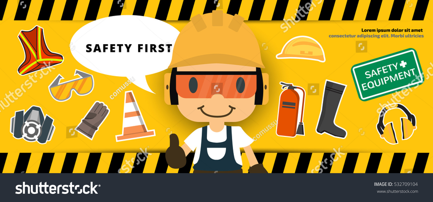 Design large banner in illustrator - Construction Worker Repairman Thumb Up Banner Safety First Health And Safety Vector Illustrator