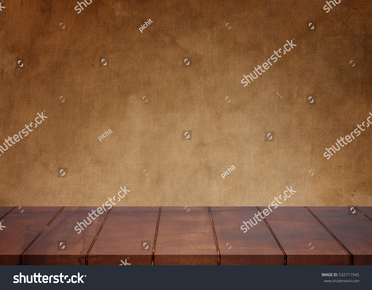 Empty Wooden Floor Old Retro Cloth Stock Photo 532711945