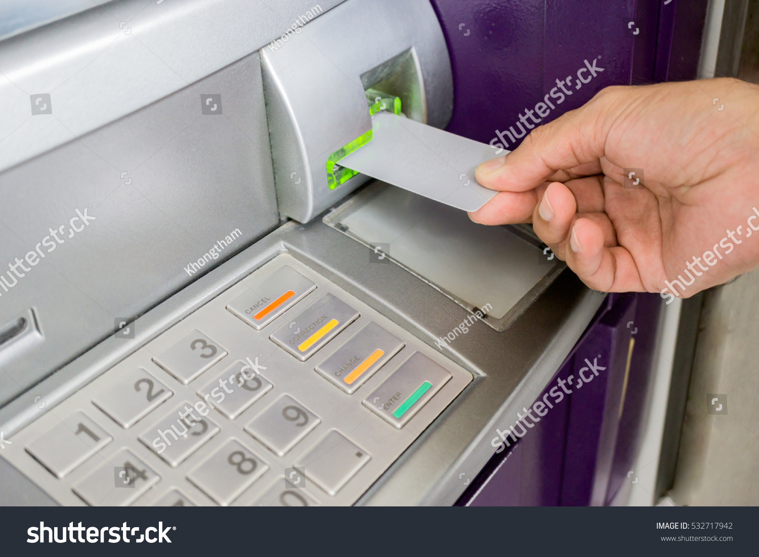 Man Inserting Card Atm Machine Withdraw Stock Photo (Royalty Free ...