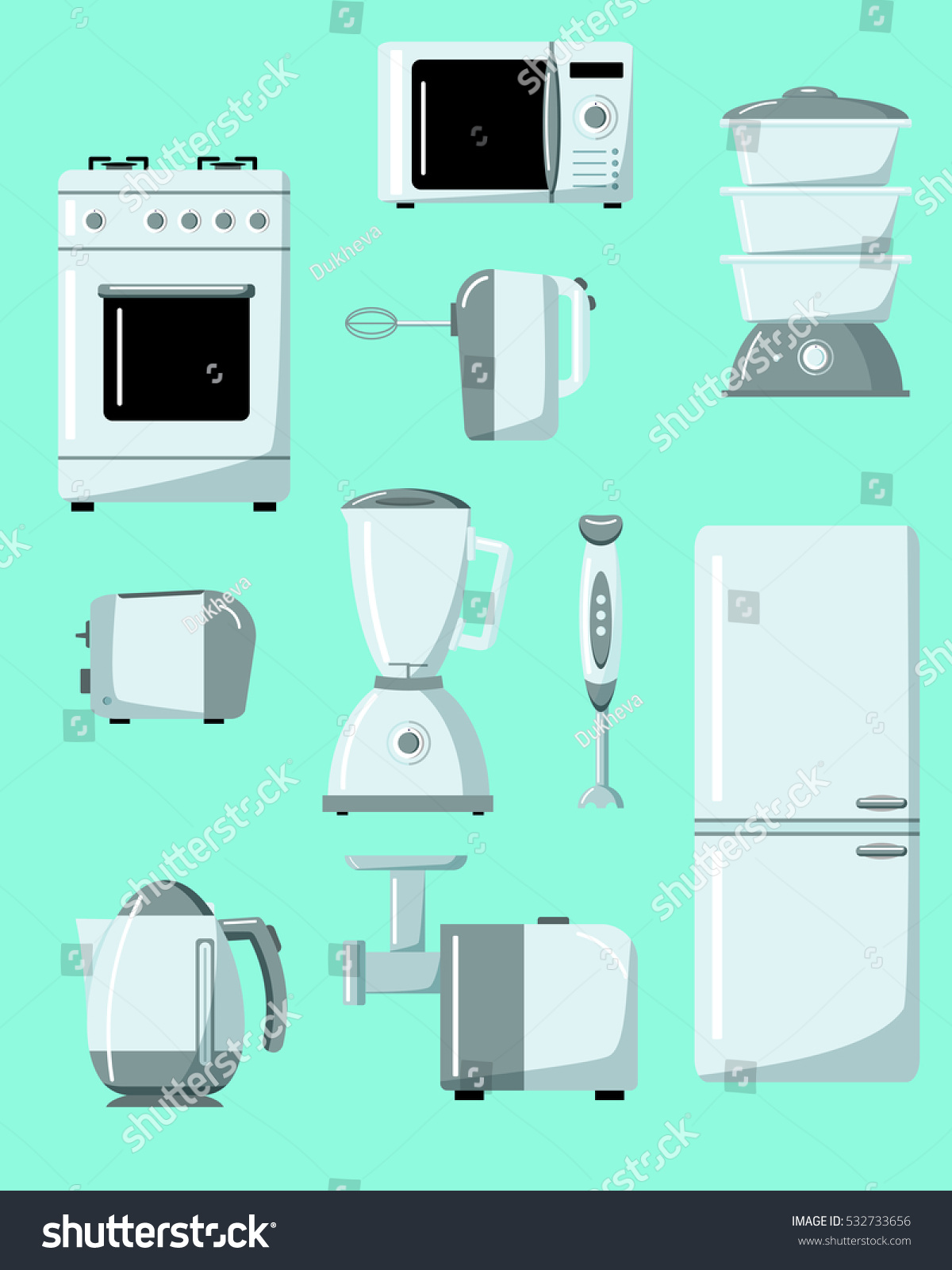 set kitchen electrical appliances domestic electrical stock vector