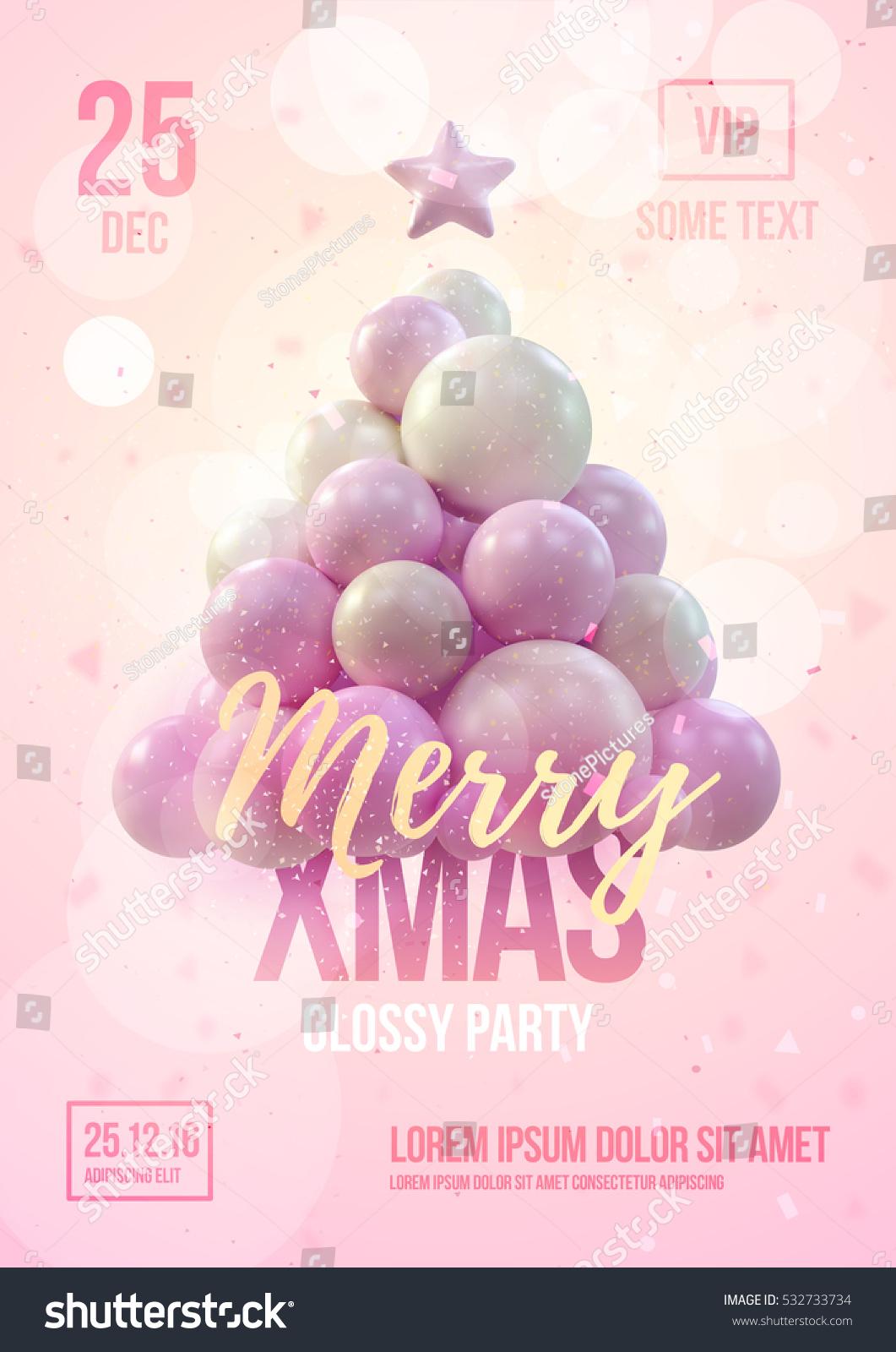 Christmas Poster Flyer Template Pink Christmas Stock Vector Royalty