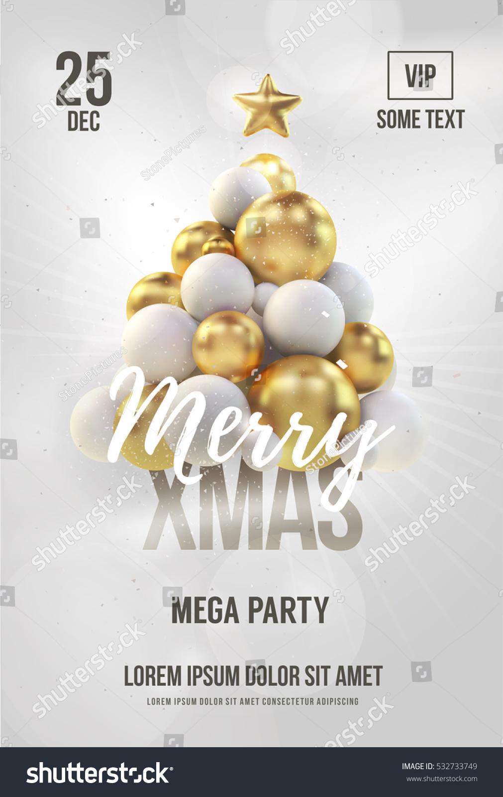White Christmas Poster Flyer Template Golden Stock Vector (Royalty ...