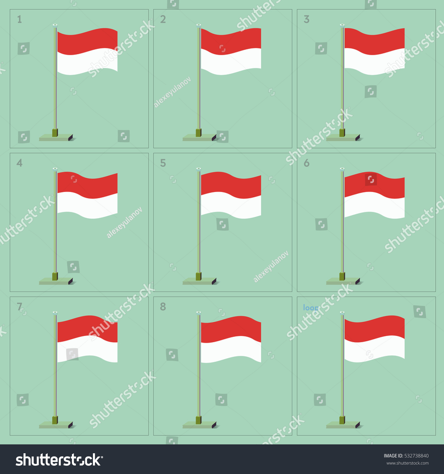 Vector Monaco Country Waving Flag Animation Stock-Vektorgrafik ...