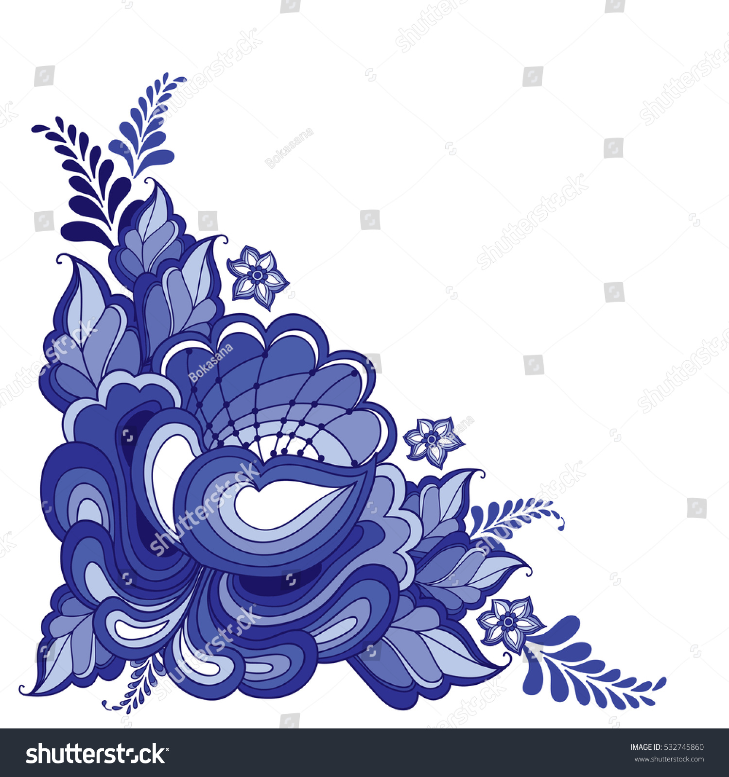 Artistic floral element abstract gzhel folk art blue flowers stock - Vector Illustration With Corner Floral Motif In Traditional Russian Style Gzhel Isolated On White Ornate