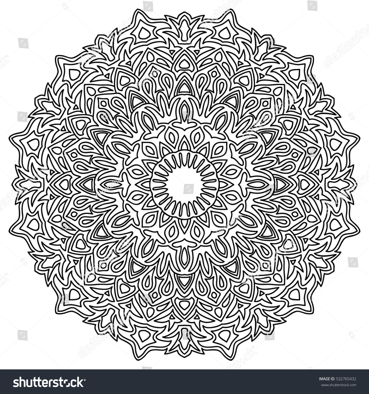Adult Coloring Book Page Ethnic Orient Stock Vector 532765432