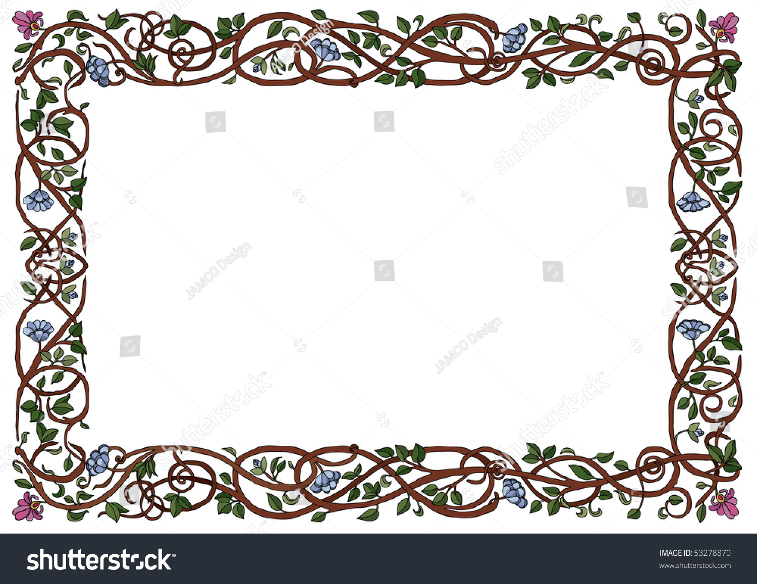Intertwined branches frame raster version stock for A decoration that is twisted intertwined or curled